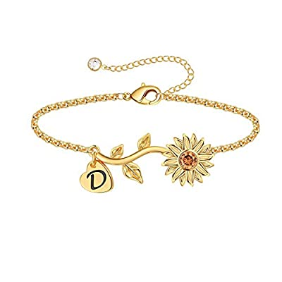 Anoup Initial Sunflower Bracelets for Girls Wom...