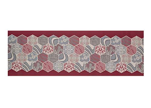 CapitanCasa Tappeto Passatoia Jacquard Antiscivolo Linea Emozioni Fantasia Mosaico Rosso 57x600 Rosso