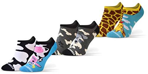 Sesto Senso Lustige Sneaker Socken Baumwolle Bunte Füßlinge Damen Herren 1-3 Paar Funny Socks Hund Kuh Giraffe 43-46 3 Tiere