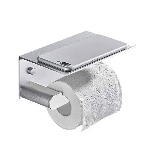 Affogato - Portarrollos de papel higiénico, montado en la pared, sin taladrar con estante de almacenamiento,accesorios de baño,simplemente estilo impermeable a prueba de moho,17×11,8×8 cm (oro)