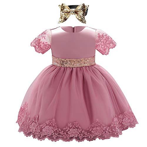 IBAKOM - Vestito da bambina, a maniche corte, con paillette, per principessa, compleanno, serata, matrimonio, festa, compleanno, abbigliamento Rose Fève 12-18 Mesi