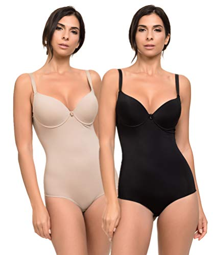 Pack de 2 Body Reductor Mujer con Efecto Invisible Moldeador Licra Body Shaping (Negro Visón, M)