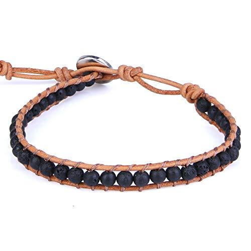 KELITCH Skull Wrap Bracelets for Women Braided Crystal Beaded Bracelets on Natural Leather...