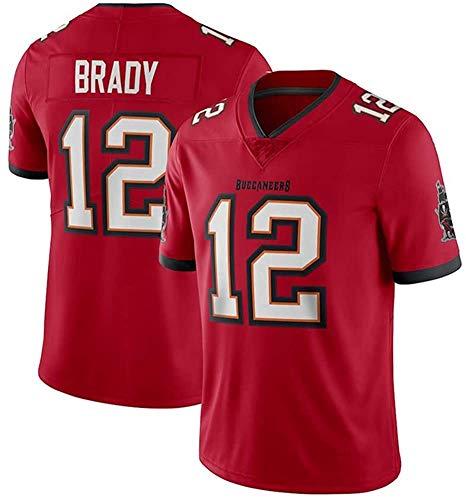 MMW - Camiseta de rugby de Tom Brady # 12 Tampa Bay Buccaneers fútbol Jersey unisex de manga corta, transpirable, el mejor regalo, rojo B, M(175cm~180cm)