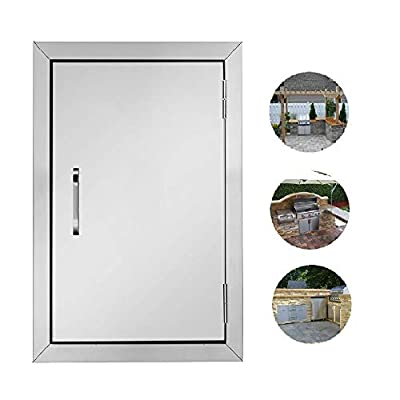 ROVSUN Outdoor Kitchen Door, 14''W x 20''H BBQ Access Door, 304 Grade Heavy Duty Stainless Steel Single BBQ Island Door, Perfect for Outdoor Kitchen, BBQ Island & Grilling Station