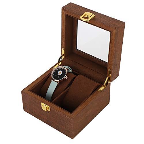 Lv. life Uhrenaufbewahrungsbox, 2-Gitter-Uhren-Displaybox aus Holz Transparentes Fenster rutschfeste Uhren-Aufbewahrungsbox mit Schloss (Farbe Schwarz-Walnuss)