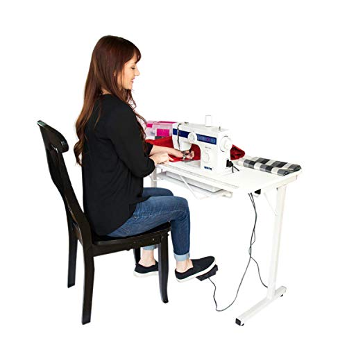 SewStation 101 Cutting, Quilting, and Craft Table, Portable with Wheels Sewing Table by SewingRite - White