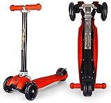FFVWVGGPAA Patinete para Niños Scooter Plegable para Adultos Scooter Ajustable Scooter para niños Adecuado para Hombres y Mujeres de 5 a 33 años, Patinete Infantil Juguete F00610(Color:Red)