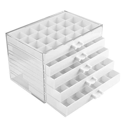 Caja de Almacenamiento de decoración de uñas, Caja de Almacenamiento de 120 cuadrículas con cajones de 5 Capas Contenedor de uñas Organice para Pendientes de Clavos Falsos (Blanco)