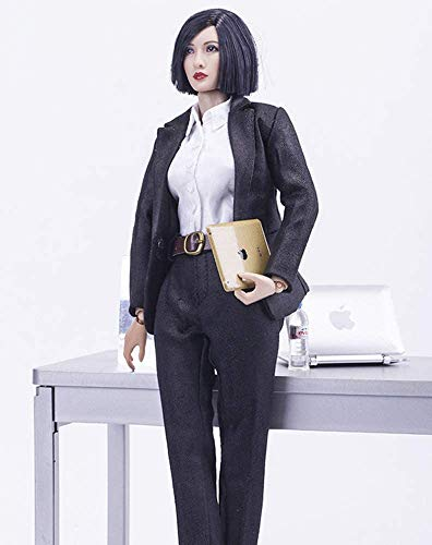 ZSMD 1/6 Scale Female Figure Doll Clothes, Handmade Full Suit, Jacket + Blouse + Pants + Belt Outfit for 12
