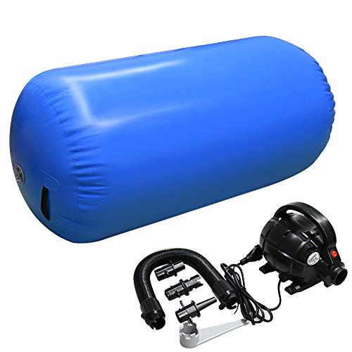 Home U Air Roll Aufblasbare Luft Rollen Yoga Gymnastik Zylinder Gym Air Barrel mit Pumpe (120x75cm, Blau)