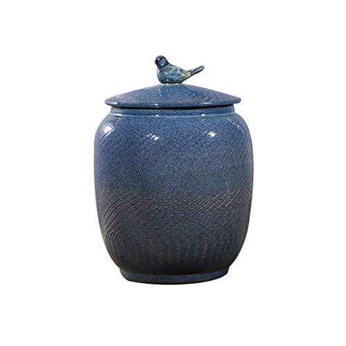 XYZMDJ Hoja de té de cerámica de Almacenamiento de arroz tarros de almacenaje casera Cocina Organización Harina Tanque de Almacenamiento de cerámica Jar Cubierta Rice (Size : 40cm)