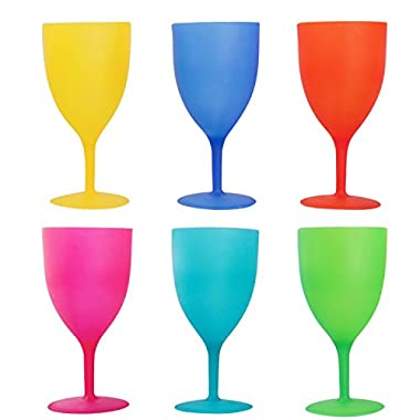 Colorful Plastic Picnic/Party Supply Set - Plastic Goblets - 6 Pieces