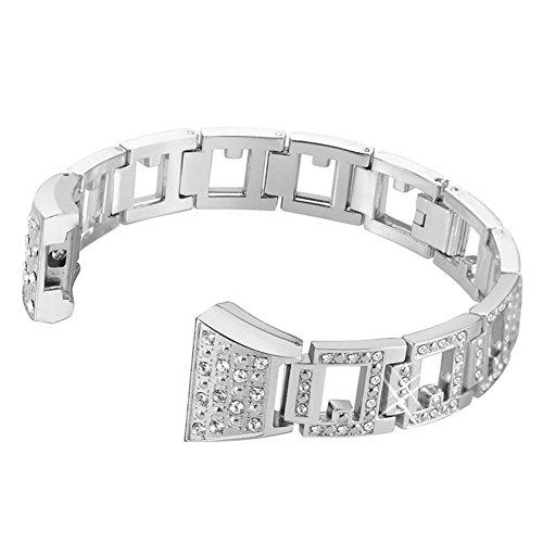 Dxlta Uhrenarmband, für Damen, Herren, einstellbar, mit Steinen, Ersatz-Armband, aus Metall, für Fitbit Charge 2 silber