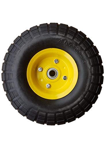 Frosal PU Rad Bollerwagen Ø 260 mm 4.10/3.50-4 | Ersatzrad Reifen Sackkarre | Achse 16 mm | Pannensicher Kugellager | Stahlfelge Gelb
