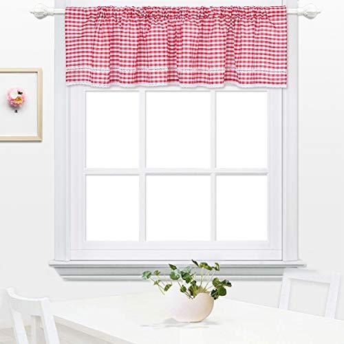 DOKOT Kariert Gingham Baumwolle Querbehang Küche Vorhang Gardinen Schals Fensterschal Vorhänge 30x150cm Rot