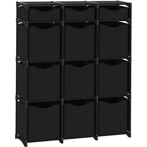12 Cube Organizer | Set of Storage Cubes Included | DIY Closet Organizer Bins | Cube Organizers and Storage Shelves Unit | Closet Organizer for Bedroom, Playroom, Livingroom, Office, Dorm (Black)