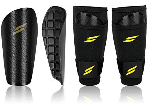 Syfly ® – Schienbeinschoner [3er Set] für optimalen Schutz ohne zu verrutschen - Schienbeinschoner Fußball Herren (Schwarz) – Inkl. Stutzenhalter
