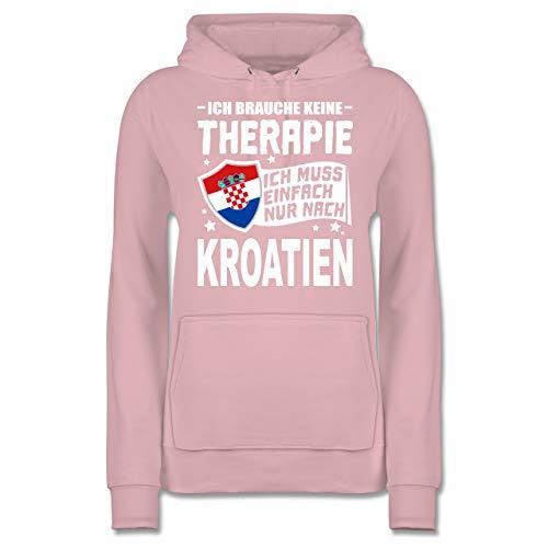 Länder - Ich Brauche Keine Therapie Ich muss einfach nur nach Kroatien - weiß - XL - Hellrosa - JH001F - Damen Hoodie und Kapuzenpullover für Frauen