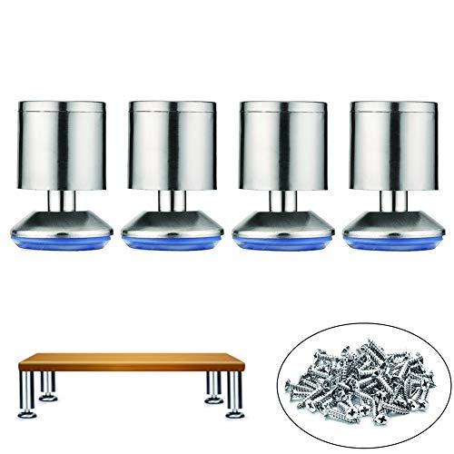 4 Sets Van Kabinet Voeten Met RVS Verstelbare Voet 6-30CM Cilindrische Kast Voeten Voor Ondersteuning Slaapbank Salontafel,Thickened,12cm