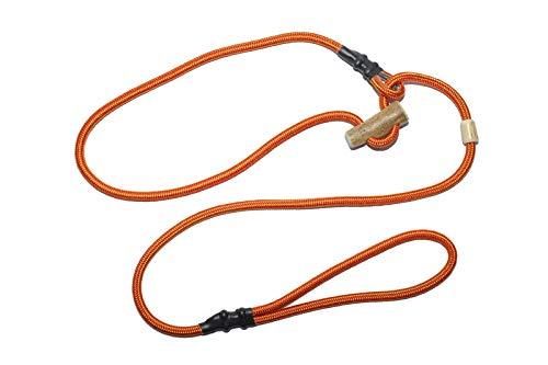 Retrieverlijn rood-oranje/Jachtlijn/Sliplijn/Moxonlijn Sporty | robuuste hondenriem gemaakt van touw met geïntegreerde halsbandje | 6mm | met echte herten hoorn stop