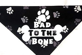 Bad to The Bone Dog Bandana with Paw Print Background