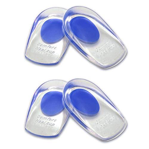 MINGZE 2 pares de almohadillas de gel para talones, almohadillas de silicona para talones para la fascitis plantar, espolones del talón y dolor de Aquiles copas gel cojines Aliviar Dolor (Azul)