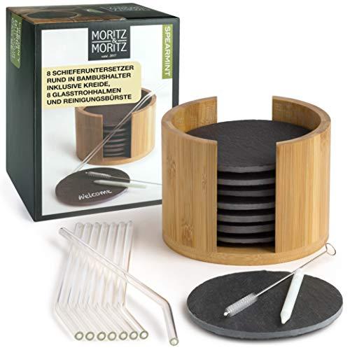 Moritz & Moritz Posavasos Pizarra - Juego de 19 Piezas Spearmint con caja Pajitas de Vidrio Cepillo Tiza - Para Vasos Tazas Comida para Picar