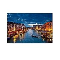 イタリア・ヴェネツィアの大運河の夜景のポスター キャンバスポスター寝室の装飾スポーツ風景オフィスルームの装飾ギフト,キャンバスポスター壁アートの装飾リビングルームの寝室の装飾のための絵画の印刷 12x18inch(30x45cm)
