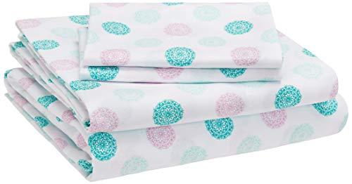 AmazonBasics Kid's Sheet Set - Soft, Easy-Wash Lightweight Microfiber - Full, Jade Medallion