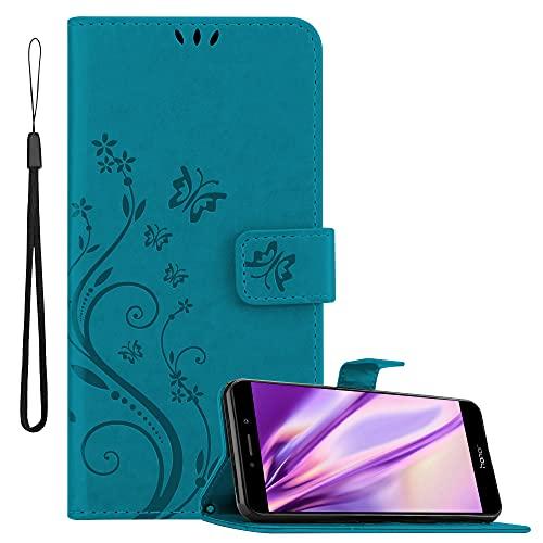 Cadorabo Hülle kompatibel mit Honor 6X / Huawei Mate 9 LITE / GR5 2017 in FLORAL BLAU - Handyhülle im Blumen Design mit Magnetverschluss, Standfunktion & 3 Kartenfächern - Hülle Cover Tasche Book