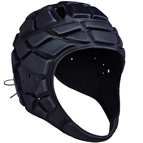 COOLOMG Soft Padded Headgear 7v7 Soft Shell Head Protector Goalkeeper Adjustable Soccer Goalie Helmet Support Rugby Flag Football Helmet Youth Adults