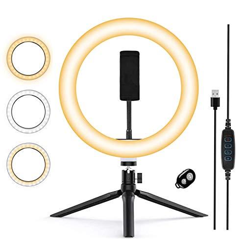 Zoeley Anillo de luz LED, Aro de Luz y Trípode con Control Remoto 3 Colores Modo 12 Brillos Regulables, Selfie Ring Light LED Rotación de 360° para Selfie, TIK Tok Maquillaje y Youtube Live