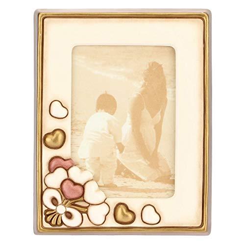THUN - Cornice Portafoto da Tavolo Rettangolare, Color Avorio, Decorata con Cuori - Accessori e Decorazioni Casa - Linea Hearts - Formato Medio - Ceramica - Formato Foto 10 x 15 cm