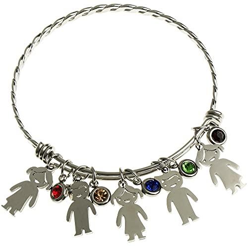 Pulsera personalizada para el día de la madre de la abuela, regalo para mujeres y niñas, pulsera de muñeca de acero inoxidable (estilo 2)
