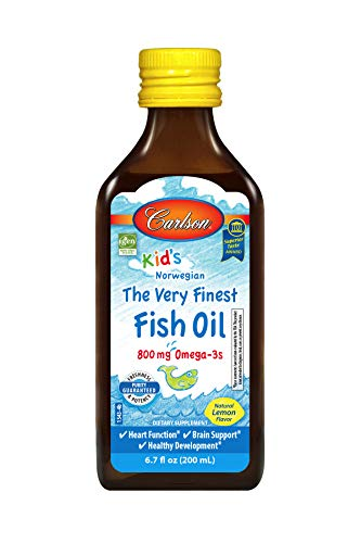 Carlson - Kid's The Very Finest Fish Oil Liquid, 800 mg Omega-3s, Norwegian, Wild-Caught Fish Oil, Omega 3 Liquid for Kids, Sustainably Sourced, Lemon, 200 ml