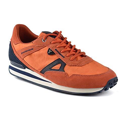 Zapatilla Sneaker Yumas PERÚ Naranja Fabricado en Piel Serraje y Nylon Plantilla Confort Látex para Hombre