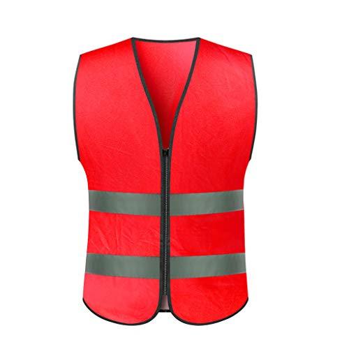 Lily Chaleco de Seguridad Chalecos de Seguridad de tráfico Chaleco Reflectante de Noche Chaleco de Seguridad para Montar Ropa de Tira Reflectante de tráfico Chaleco Reflectante (Color : Red)
