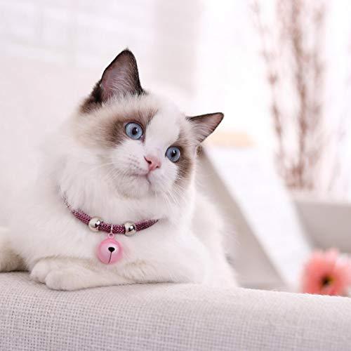 SALUTUYA Cat Bell Halskette Nicht verblassend für Cat Small Dog Pink Rot Blau Weiß(Jane Fan)