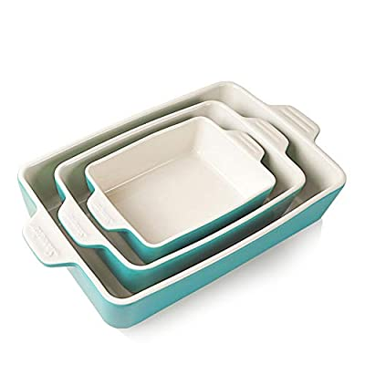 SWEEJAR Ceramic Bakeware Set, Rectangular Baking Dish Lasagna Pans for Cooking, Kitchen, Cake Dinner, Banquet and Daily Use, 11.8 x 7.8 x 2.75 Inches of Baking Pans (Turquoise)