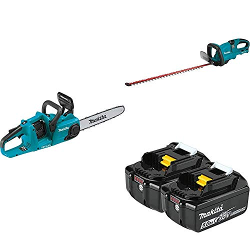 Makita XCU03Z 18-Volt X2 (36V) LXT Lithium-Ion Brushless Cordless 14 inch Chain Saw and XHU04Z Cordless 25-1/2 inch Hedge Trimmer with BL1850B-2 18-Volt 5.0Ah LXT Lithium-Ion Battery 2-Pack