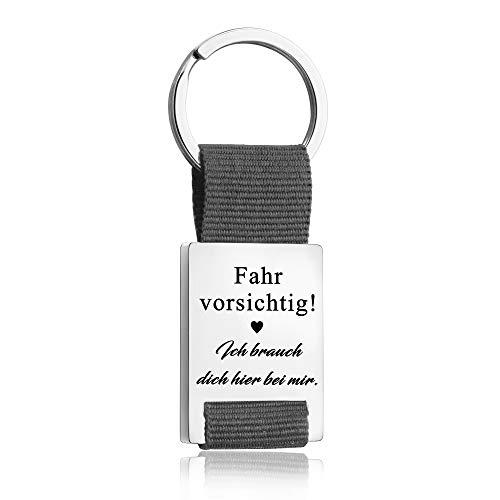 Llavero con llavero para el Día del Padre, con texto 'Drive Safe Ich Brauche Dich Hier bei Mir Trucker', regalo de cumpleaños para marido o novio