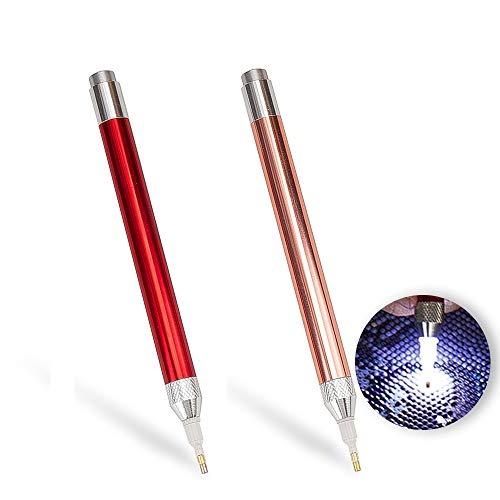BiBeGoi DIY Diamant-Malstift, LED-Beleuchtungsstift Art Strass Applikator Zubehör, Bohrperlen Stift mit Licht für Erwachsene, 5D Gem Jewel Wax Picker Tool Stickzubehör