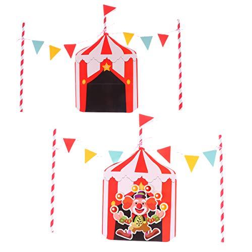 NUOBESTY 2 juegos de decoración de papel para tartas de payaso de circo, palillos para magdalenas, postres, decoraciones para fiesta de cumpleaños