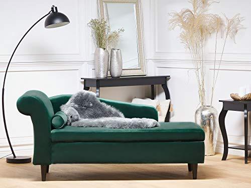 Beliani Moderne Chaiselongue mit angenehmer Polsterung aus Samtstoff in Smaragdgrün Luiro