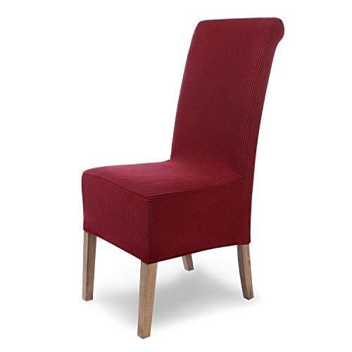 SCHEFFLER-Home Stretch Stuhlhusse Sofia   6er Set elastische Stuhlabdeckungen   Stuhlhussen Schwingstühle   Flanell Spannbezug mit...