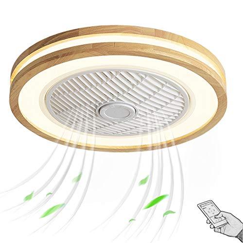 LED Lampara Ventilador de Techo con Luz y Mando a Distancia Silencioso Madera Vintage Claraboya Plafon de Ventilador Fan Iluminación Luces para Salon Dormitorio Infantil Comedor 50cm 72W