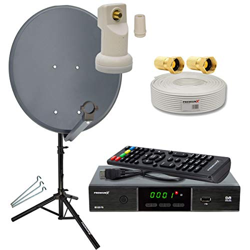 PremiumX Camping komplett SAT Anlage Set 60cm Anthrazit Antenne Single LNB Dreibein Stativ TV-Kabel DVB-S2 Satelliten Receiver