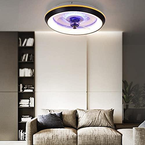 RDJSHOP Ventilador Luz de Techo Ventilador de Techo con Iluminación Y Control Remoto Luces de Techo Ultrafinas 19.68IN 80W Ventilador Regulable Luz Colgante para Sala de Estar