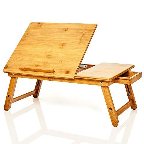 bambuswald© Betttablet | Laptoptisch mit Schublade aus 100% Bambus : ca. 54x35cm- klappbarer Notebooktisch, Betttisch, Lapdesks für Lesen oder Frühstück und Zeichentisch fürs Bett